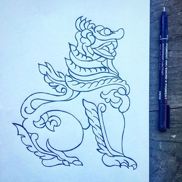 Need a Chinthe for some work on an upcoming project in Yangon. As one does.Wanted a hand drawn outline to watermark into some imagery. Damn I love my day job.#Myanmar#doodle#doodleoftheday#Ihavethebestdayjob